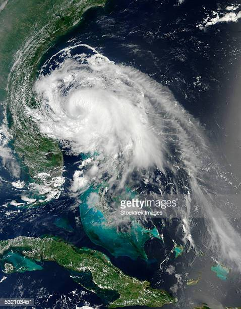 July 2, 2014 - Satellite view of Hurricane Arthur east of Cape Canaveral, Florida.