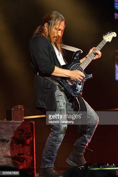 July 2 2015 Sergio Vallin of the band Mana performs on stage during the bands Cama Incendiada Tour at American Airlines Arena in Miami Florida