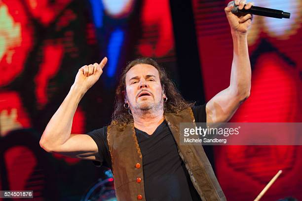 July 2 2015 Singer Fher Olvers of the band Mana performs on stage during the bands Cama Incendiada Tour at American Airlines Arena in Miami Florida