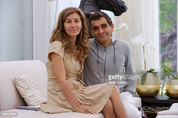 July 20 2007 Orense Galicia Spain The fashion designer Adolfo Dominguez with his wife Elena Gonzalez alvarez in his house in Orense