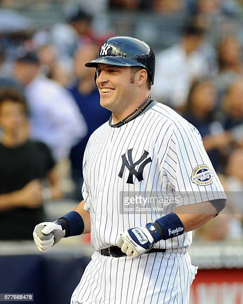 New York Yankees Vs Baltimore Orioles at Yankee Stadium Bronx NY Yankees Eric Hinske is all smiles after he scores on his solo homer in the second...