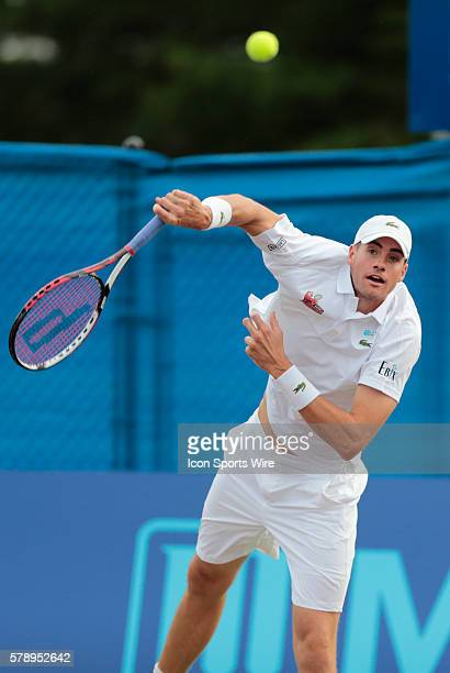 Boston Lobsters John Isner hammers a serve The Boston Lobsters met the Philadelphia Freedoms in a World Team Tennis match at Boston Lobsters Tennis...