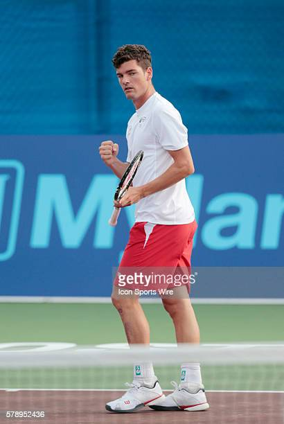 Philadelphia Freedoms Frank Dancevic with the fist pump after the win The Boston Lobsters met the Philadelphia Freedoms in a World Team Tennis match...