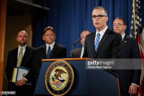 WASHINGTON July 20 2017 Andrew McCabe US acting director of the Federal Bureau of Investigation attends a press conference at the US Justice...
