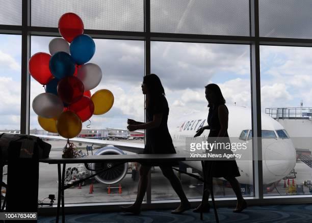 ATLANTA July 20 2018 Photo taken on July 20 2018 shows the passenger plane for the first AtlantaShanghai flight at HartsfieldJackson Atlanta...