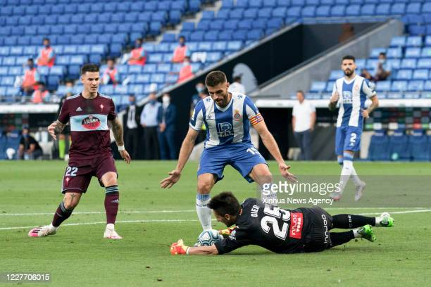 BARCELONA July 20 2020 CD Espanyol's Oier Olazabal saves the ball during a Spanish La Liga league match between RCD Espanyol and RC Celta in...