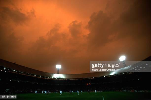 July 2000 Rotterdam : UEFA Euro Football Championships Final : France v Italy : a dramatic orange sky over the Feyenoord Stadium