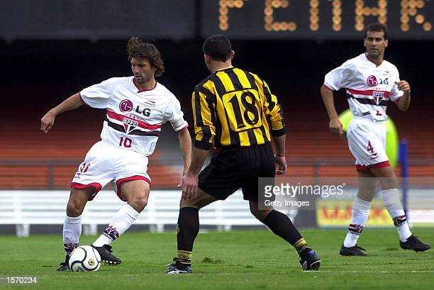 Leonardo of Sao Paulo in action during a Copa Mercosul match played between Sao Paulo of Brazil and Penarol of Uruguay at Morumbi Stadium in Sao...