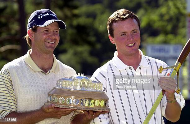 Retief Goosen of South Africa and Michael Hoy of Northern Ireland the top amature after the Scottish Open at the Loch Lomond Golf Club Alexandria...