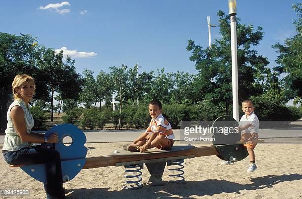 July 2006 Madrid Spain The bullfighter Cristina Sanchez with her children Antonio and Fenando in the Park Juan Carlos I