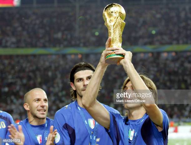 09 July 2006 World Cup Final Italy v France Andrea Pirlo of Italy holds the World Cup trophy in the air