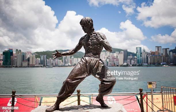 01 July 2008 Hong Kong China Bronze statue of Bruce Lee at the Avenue of the Stars Tsim Sha Tsui Kowloon in a sunny day Hong Kong China Photo by...