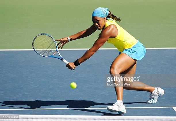 Angela Haynes in action as she lost to Jelena Jankovic 6-3, 6-1 in singles play at the 39th Bank of the West Classic, part of the Sony Ericsson WTA...