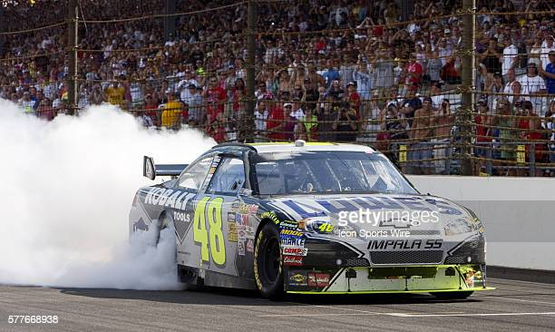 Jimmie Johnson wins the running of the Allstate 400 at the Brickyard in Indianapolis Motor Speedway in Indianapolis IN