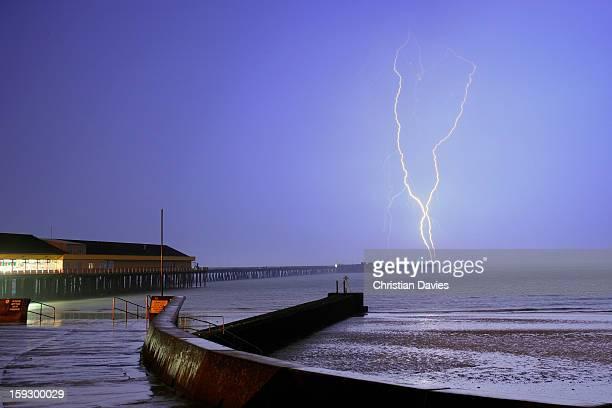 July 2009 Lightning over walton Pier Essex UK