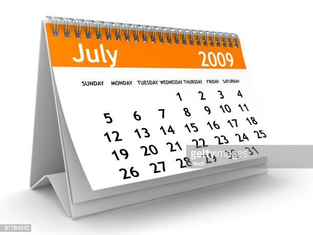 july 2009 - orange calendar series - july stock pictures, royalty-free photos & images