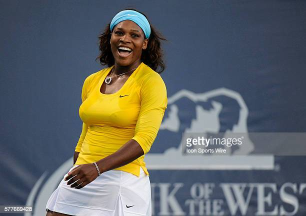 Serena Williams in action as she defeated Na Li 6-3, 7-6 during singles play at the 39th Bank of the West Classic, the first stop on the Olympus US...