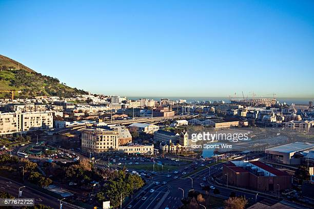 The new Green Point Stadium which is being built for the 2010 FIFA World Cup is viewed from the Westin Grand hotel in Cape Town Western Cape South...