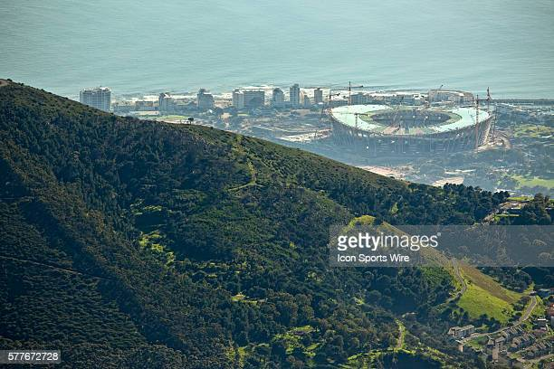 The new Green Point Stadium which is being built for the 2010 FIFA World Cup is viewed from Table Mountain in Cape Town Western Cape South Africa The...