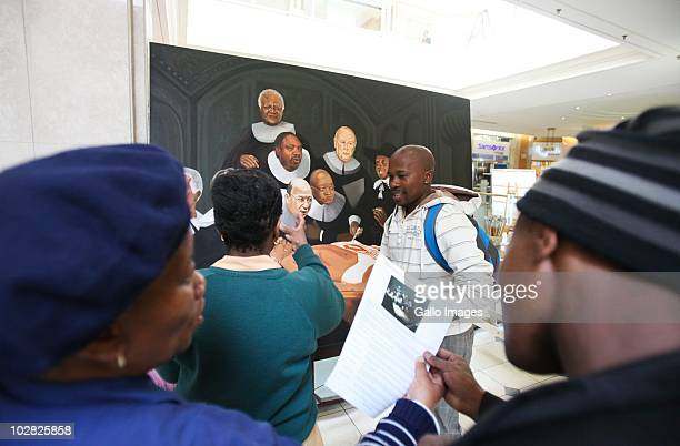 July 2010 : A painting depicting Nelson Mandela as a corpse undergoing an autopsy is on display in the Hyde Park shopping centre on 9 July 2010 in...