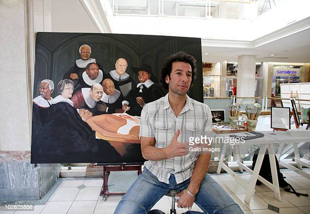July 2010 Artist Yiull Damaso talks about his painting depicting Nelson Mandela as a corpse undergoing an autopsy which is on display in the Hyde...