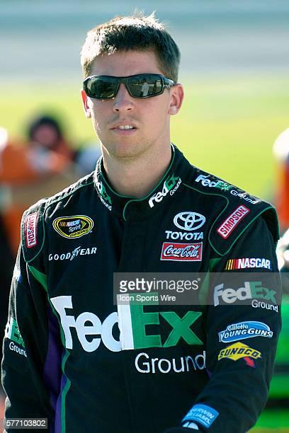 Denny Hamlin driver of the FedEx Express Toyota prior to the start of the NASCAR Sprint Cup Series LifeLockCOM