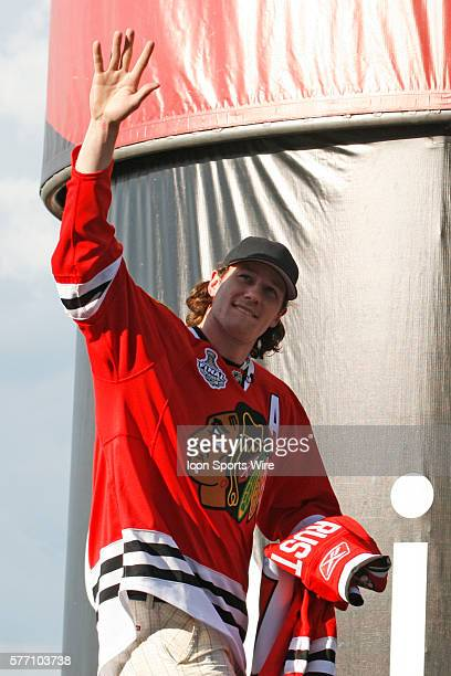 Duncan Keith from the Blackhawks is introduced to the fans prior to the start of the NASCAR Sprint Cup Series LifeLockCOM