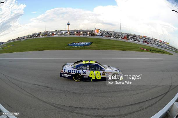 Jimmie Johnson driver of the Lowe's Chevrolet racing during the NASCAR Sprint Cup Series LifeLockCOM