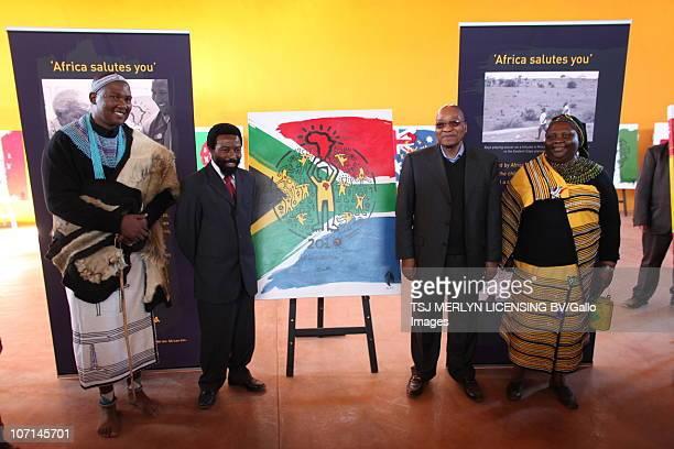 President Jacob Zuma and Chief Zwelivelile Mandela leads local residents to Mvezo birthplace of Nelson Mandela to celebrate Mandelas 92nd birthday In...