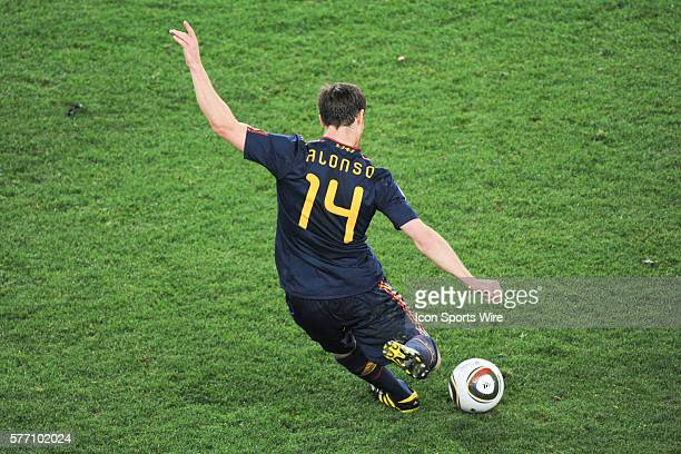 Spain midfielder Xabi Alonso swings in a free kick during the quarter final game between Spain and Paraguay at Ellis Park in the FIFA World Cup 2010