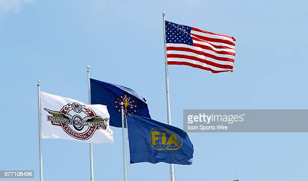 The flags fly above the famed pagoda at the Indianapolis Motor Speedway in Speedway IN