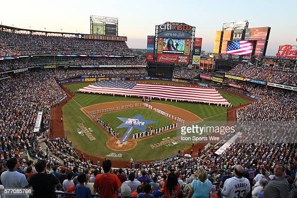 A general view of Citi Field as an American Flag is spread across the field for the singing of the National Anthem during the 2013 MLB AllStar Game...