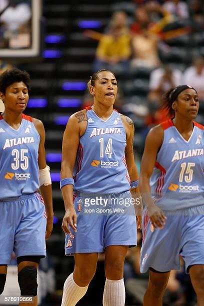 Atlanta Dream guard Angel McCoughtry Atlanta Dream center Erika de Souza and Atlanta Dream guard Tiffany Hayes during the game between the Atlanta...