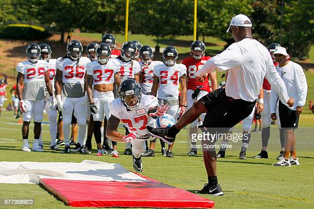 Atlanta Falcons cornerback Robert McClain runs through drills during training camp at Falcons headquarters in Flowery Branch Georgia