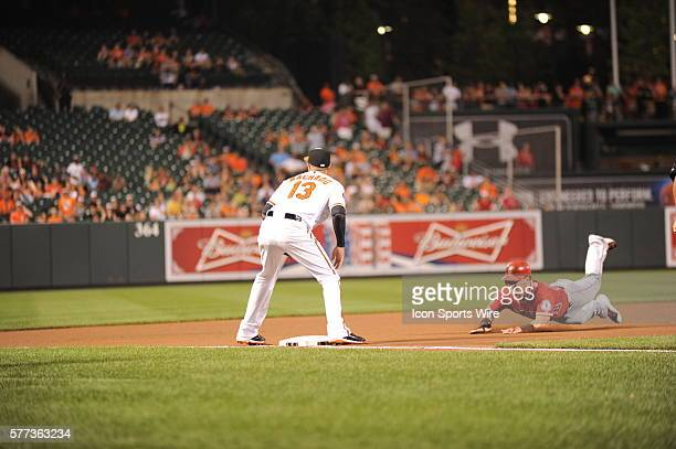 Baltimore Orioles third baseman Manny Machado takes the late throw as Los Angeles Angels right fielder Kole Calhoun slides into third base at Orioles...
