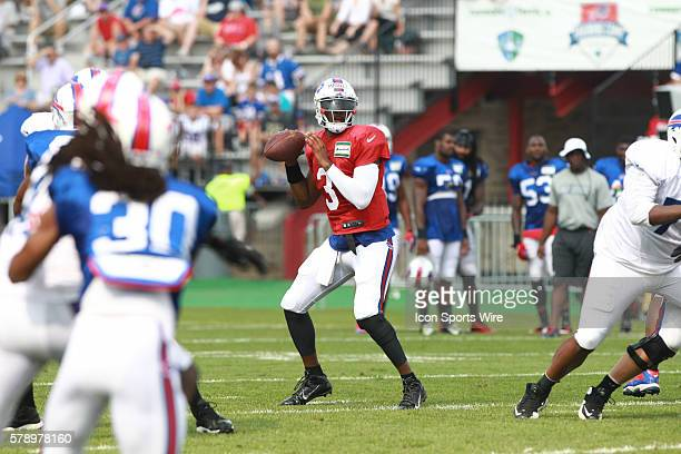 Buffalo Bills quarterback EJ Manuel in action during a practice session of Bills training camp at St John Fisher College in Pittsford NY