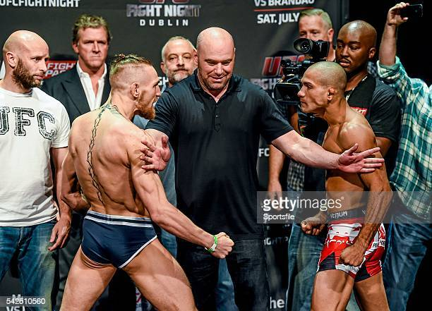 18 July 2014 Conor McGregor and his opponent Diego Brandao right in attendance at the UFC Fight Night Dublin WeighIns The O2 Dublin Picture credit...