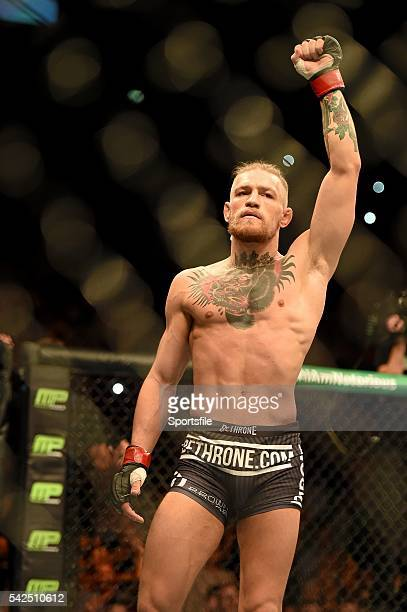 19 July 2014 Conor McGregor enters the cage for his featherweight bout against Diego Brandao UFC Fight Night Dublin The O2 Dublin Picture Credit Paul...