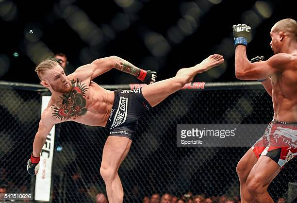 19 July 2014 Conor McGregor in action against Diego Brandao during their featherweight bout UFC Fight Night Dublin The O2 Dublin Picture Credit Paul...