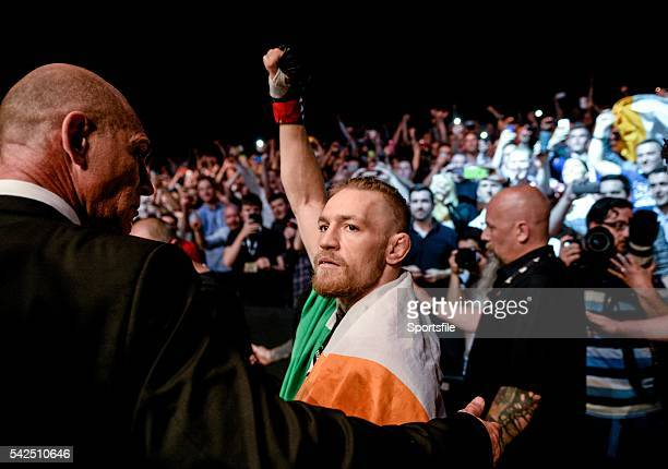 19 July 2014 Conor McGregor salutes the fans before his featherweight bout against Diego Brandao UFC Fight Night Dublin The O2 Dublin Picture Credit...