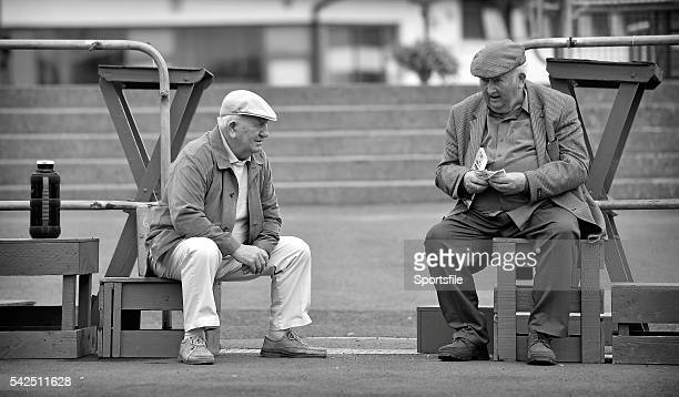 July 2014; Frank Davis, left, from Ashbourne, Co. Meath, and Pat O'Hara, from Tipperary, ahead of the days races. Galway Racing Festival, Ballybrit,...
