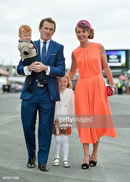 30 July 2014 Jockey Tony McCoy arrives for the days races with his wife Chanelle and his children Eve and Archie Galway Racing Festival Ballybrit Co...
