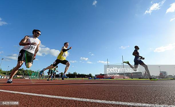 8 July 2014 Rabah Yousif Great Britain leads Jarryd Dunn Great Britain centre and Brian Murphy Ireland during the Men's 400m Cork City Sports 2014...