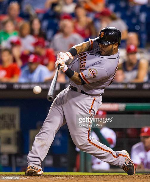 San Francisco Giants catcher Hector Sanchez at bat during a Major League Baseball game between the Philadelphia Phillies and the San Francisco Giants...