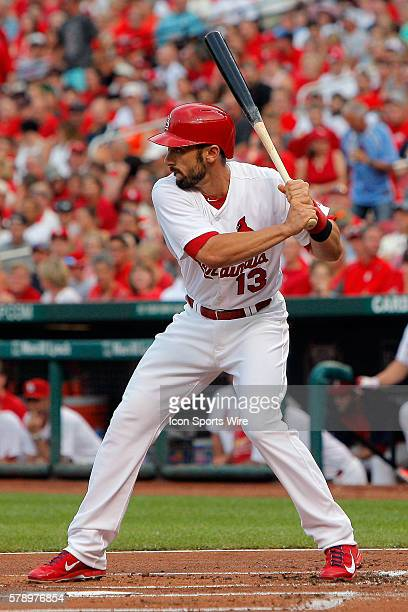 St Louis Cardinals third baseman Matt Carpenter at bat during the first inning of a baseball game against the Tampa Bay Rays at Busch Stadium in St...