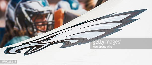 The Eagle's logo emblazes the awning over the interview center at the NovaCare Complex during the Philadelphia Eagles training camp in Philadelphia PA