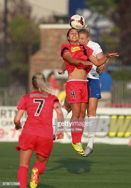Western NY Flash midfielder Samantha Kerr heads the ball during a soccer match between the and Western NY Flash at Sahlen's Stadium in Rochester NY