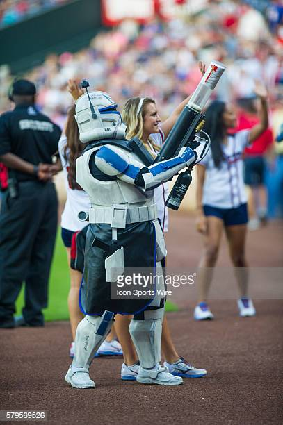 A Storm Trooper from the Star Wars 501st Legion take over Star Wars night at Turner Filed before a regular season game between the Philadelphia...