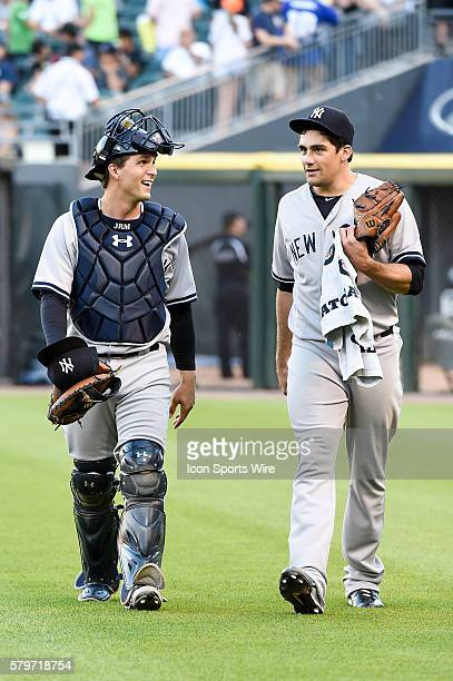 Battery mates New York Yankees Catcher John Ryan Murphy [7632] and New York Yankees Starting pitcher Nathan Eovaldi [8980] ready for game action in a...