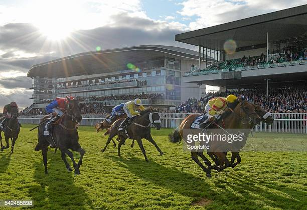 28 July 2015 Beau Satchel with Gary Halpin up front left finishes a nose ahead of Cairdiuil with Jack Kennedy up to win the Caulfield Industrial...